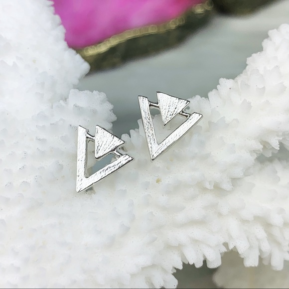 Jewelry - Dainty Delicate Triangle Earrings Silver or Rose